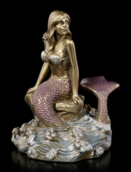 Mermaid Figurine - Unda sitting on Rock