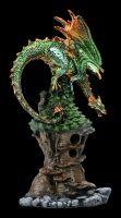 Drachen Figur auf Baumhaus mit LED - Grüner Mythos