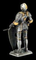 Zinn Ritter Figur hält Schwert vor Schild