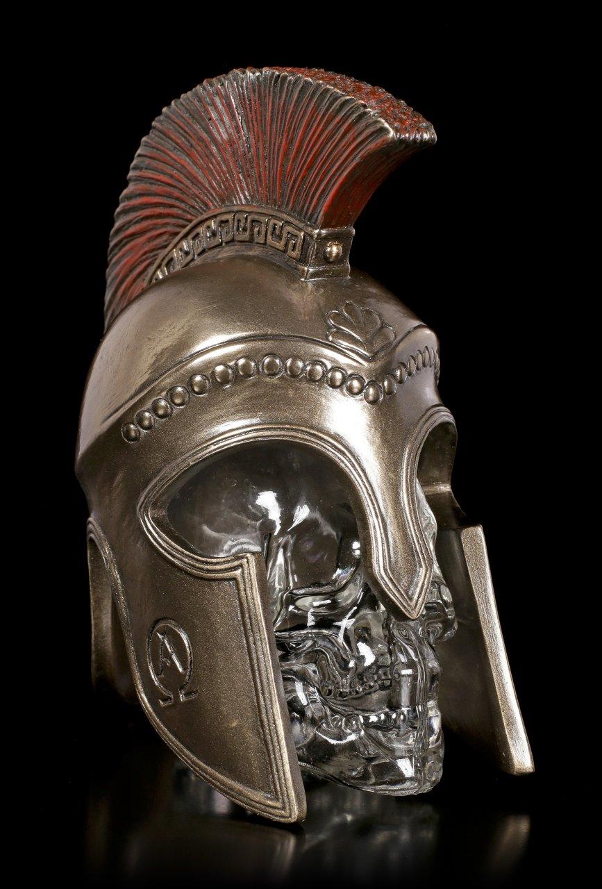 Totenkopf Flasche im Spartanischen Helm
