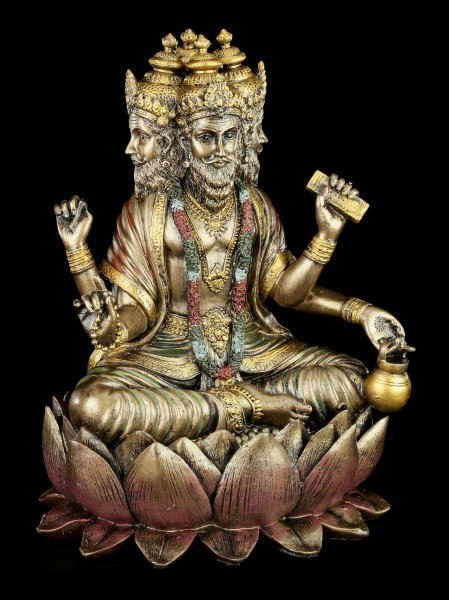 Hindu God Figurine - Brahma - Sitting on Lotus Flower