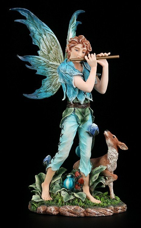 Male Fairy Figurine - Boy with Flute and Deer