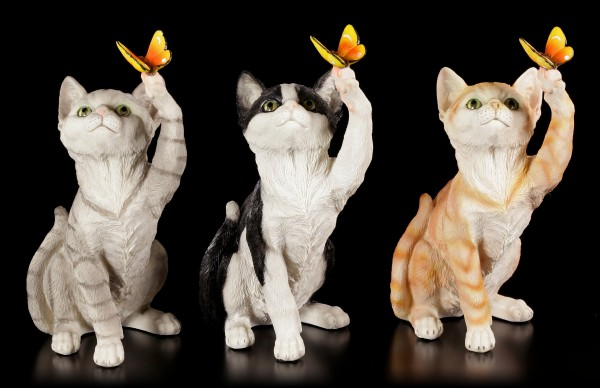 Cat Figurines with Butterflies - Set of 3
