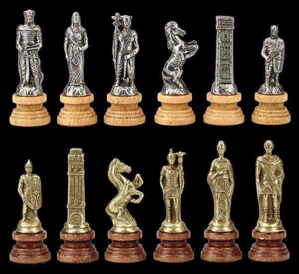 Metal Chessmen Set - Romans vs. Barbarians