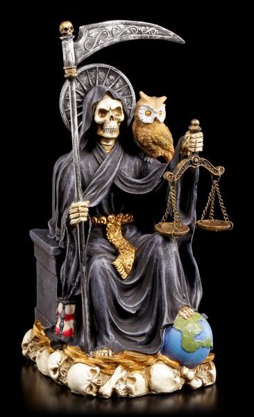Sitzende Santa Muerte Figur - schwarz