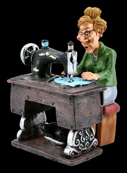 Funny Jobs Figurine - Dressmaker on Sewing Machine