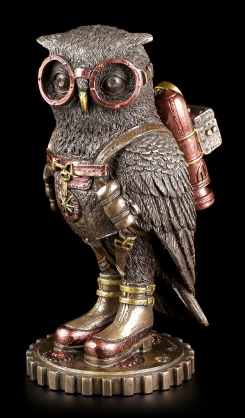 Steampunk Figurine - Owl with Aviator Goggles