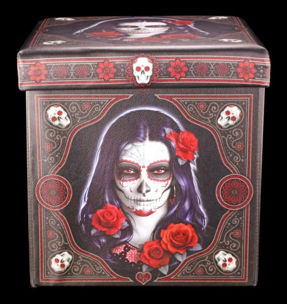Aufbewahrungsbox mit Sitzmöglichkeit - Sugar Skull