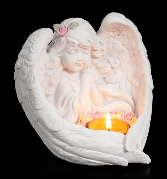Teelichthalter - Mädchen Engel mit Rosenkranz