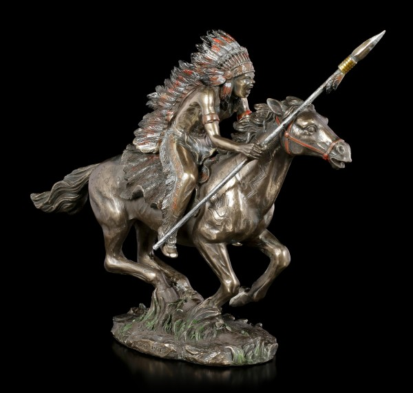 Native Indian Figurine - Warrior on Horse with Spear