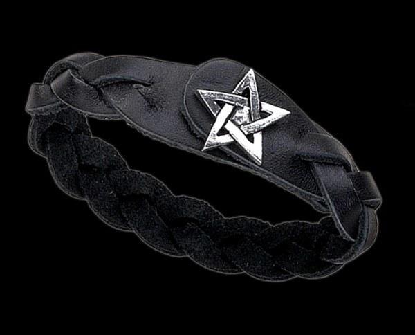 Pentagram Gaelic Plait - Leder-Armband mit Zinn Pentagramm