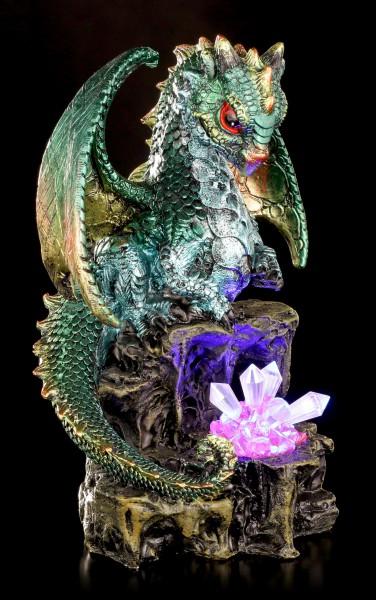 Drachen Figur mit LED - Emeraldon mit Kristallen