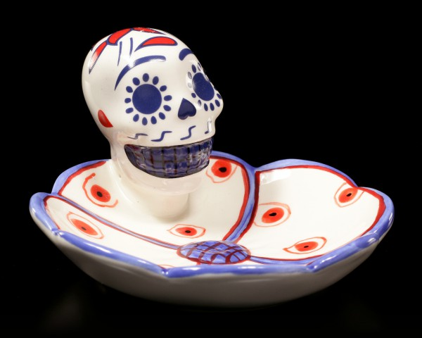 Skull Dish - Day of the Dead - blue