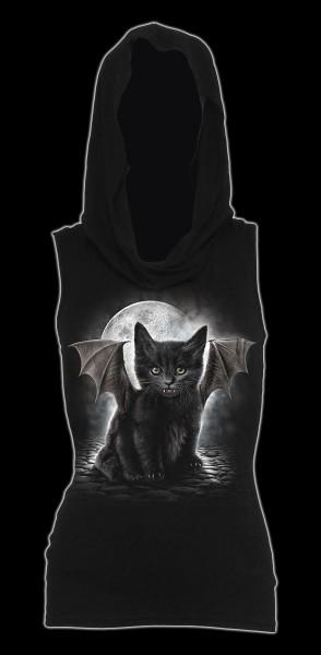Damen Gothic Kapuzensweat ärmellos - Bat Cat