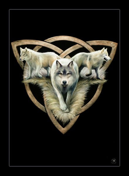 Small Canvas with Wolves - Wolf Trio