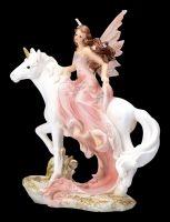 Fairy Figurine Riding a Unicorn - Old Rose Small