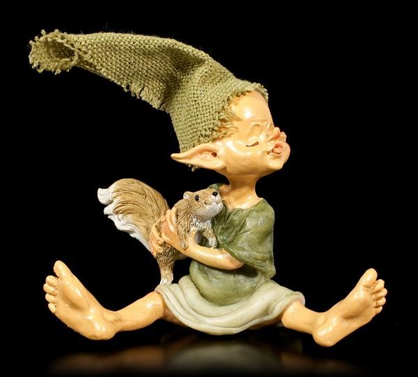Pixie Kobold Figur mit Eichhörnchen