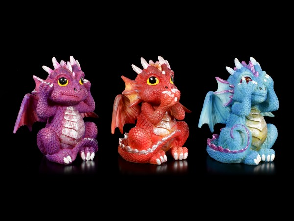 Three Wise Dragonling Figurines - No Evil