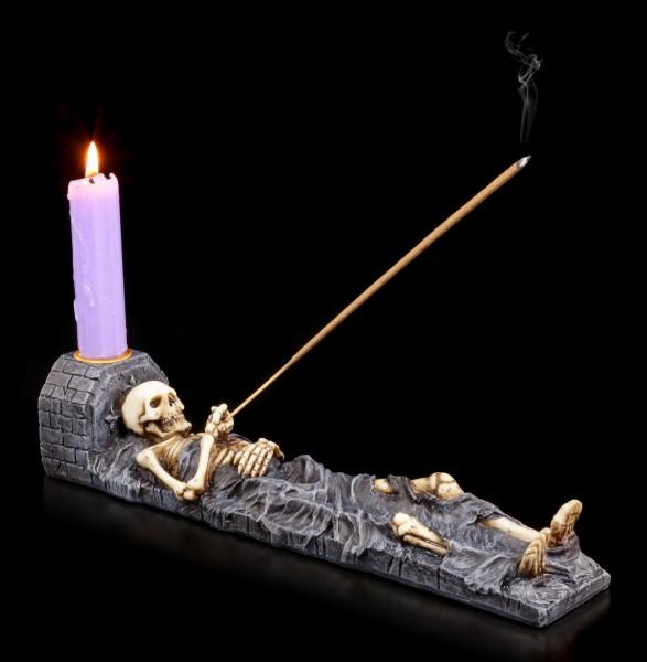 Skeleton Incense Burner with Candlestick