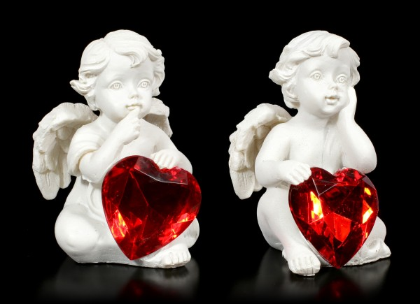Small Cherubim Figurines with red Hearts - Set of 4