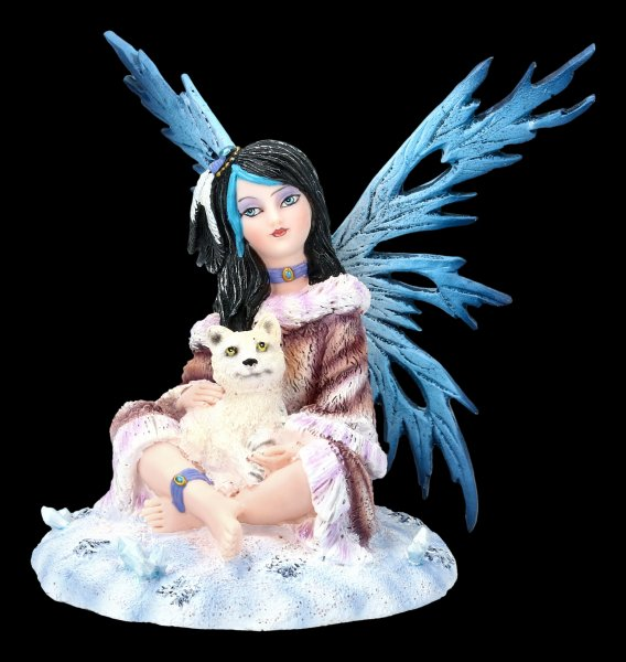 Winter Fairy Figurine - Fiona with Wolf Baby