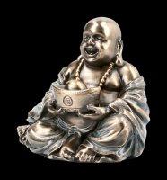 Glücks Buddha Figur hält Schale mit Goldklumpen