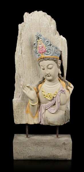 Buddha Figurine large - Meditating Wooden Look