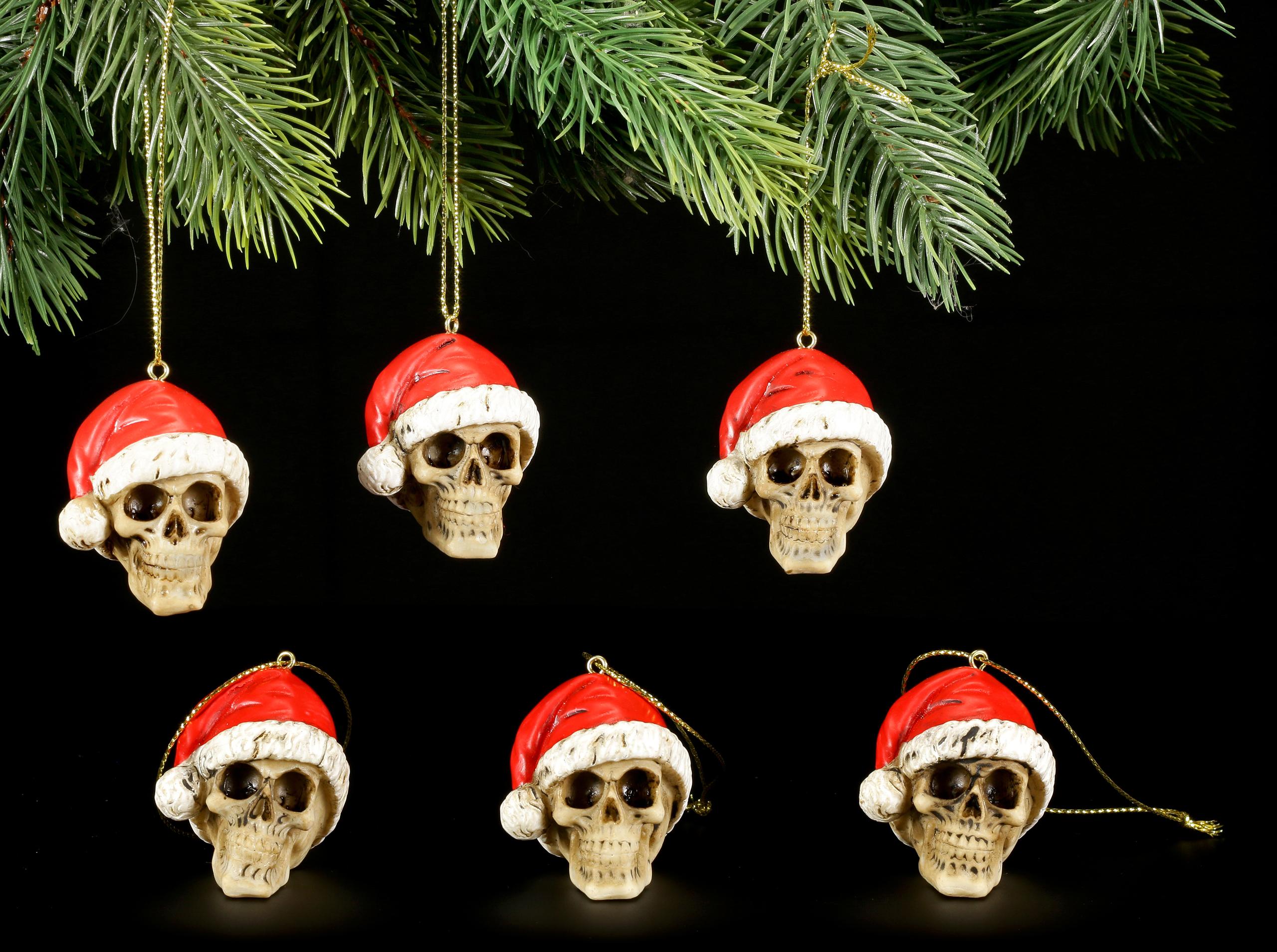 Material Christbaumkugeln.Christmas Tree Decorations Set Of 6 Skulls With Santa Hat