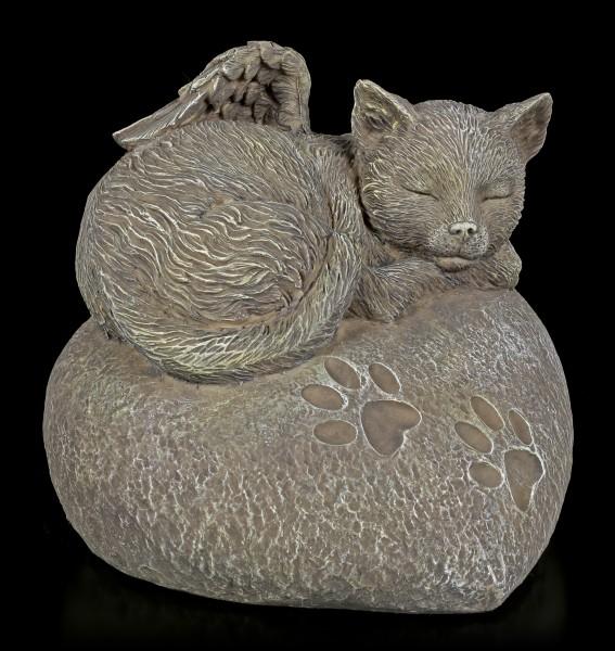 Animal Urn - Cat Angel on Heart in Stonelook