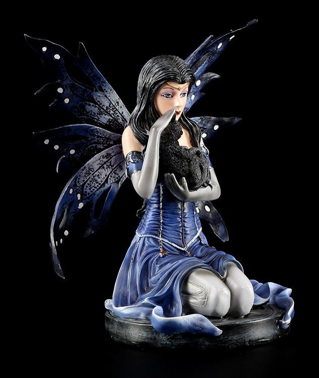 Hexen Elfen Figur - Morgana mit schwarzer Katze