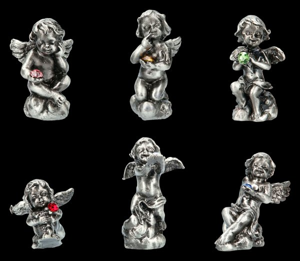 Small Pewter Angels with Gemstones - Set of 6