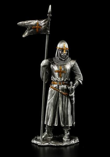 Pewter Knight with Flag