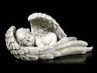 Engel Gartenfigur - Junge schläft in Flügeln