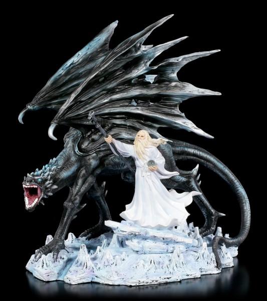 Zauberer Figur - Merlin mit schwarzem Drachen