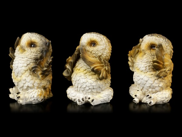 Three wise Owl Figurines - No Evil