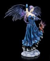 Large Dark Angel Figurine with Dragon