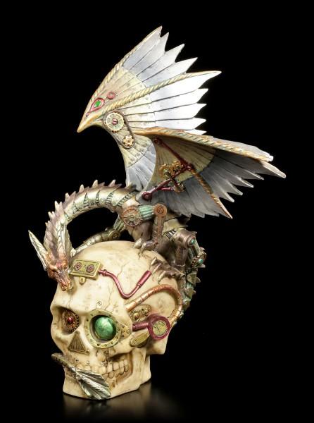 Steampunk Drachen Figur auf Totenkopf