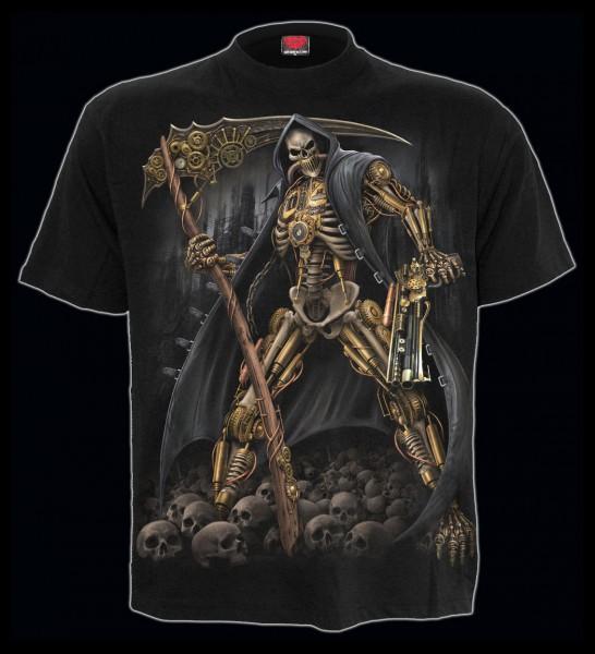 Spiral Gothic Reaper T-Shirt - Steampunk Skeleton