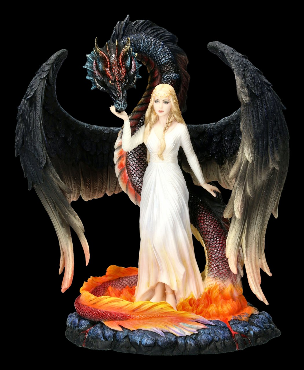 Dragon Figurine with Virgin - Born of the Flames