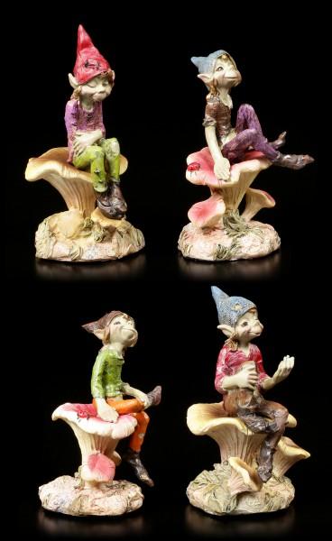 Pixie Figurines - 4 Brothers on Mushrooms - Set of 4