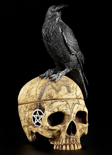 Skull Box with Crow - Salems Familiar