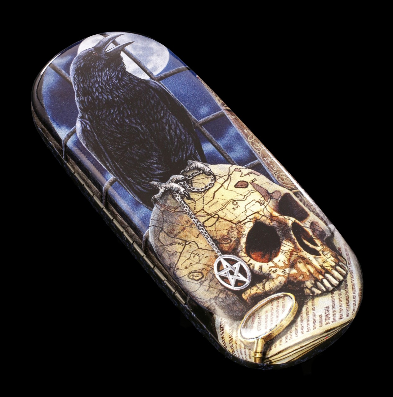 Glasses Case with Raven and Skull - Salem