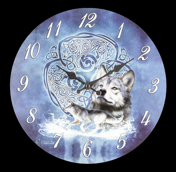 Clock - Celtic Wolf