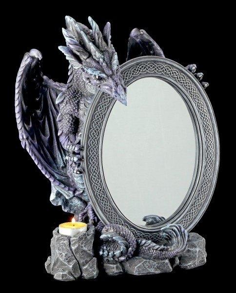 Drachen Tischspiegel mit Teelichthalter lila