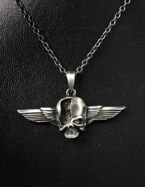 Steampunk Halskette - Cyborg Skull Wings