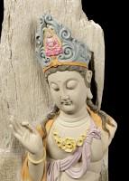 Buddha Figurine large - Meditating Wooden Look