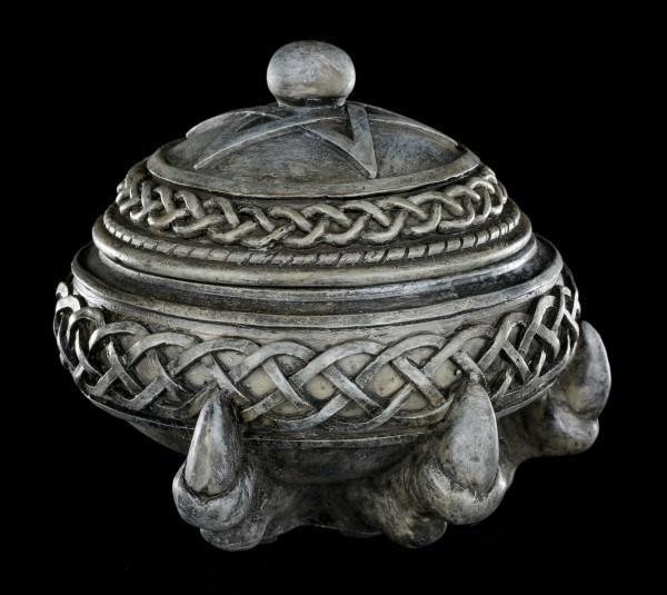 Keltische Schatulle - Rund mit Kralle und Pentagramm