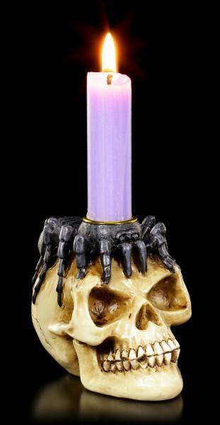 Kerzenhalter - Totenkopf mit Spinne auf Kopf