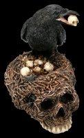 Raven Figurine on Skull-Nest