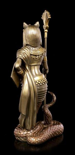 Bastet Figur mit Schlangenkörper - bronziert